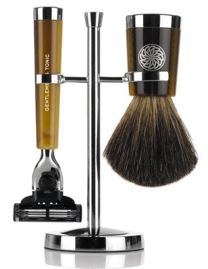 GENTLEMEN'S TONIC SAVILE ROW RAZOR & BRUSH SET - HORN