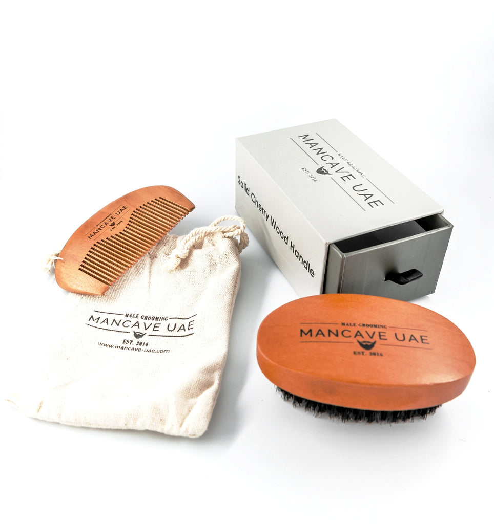MANCAVE UAE 100% PREMIUM BOAR BRISTLE BRUSH AND PEAR WOOD COMB GIFT SET