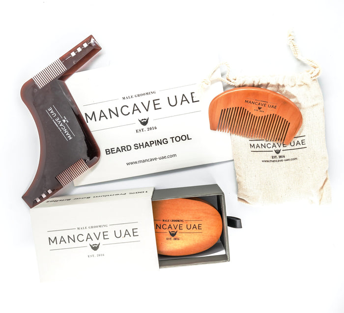 MANCAVE UAE ULTIMATE BEARD BRUSH / COMB & SHAPER GIFT SET