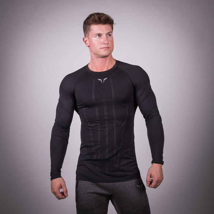 SQUAT WOLF GYM MUSCLE SEAMLESS SPYDER TEE FULL SLEEVE - BLACK
