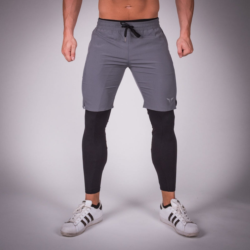 SQUAT WOLF GYM MUSCLE X-LEGGINGS COMPRESSION TIGHTS - BLACK