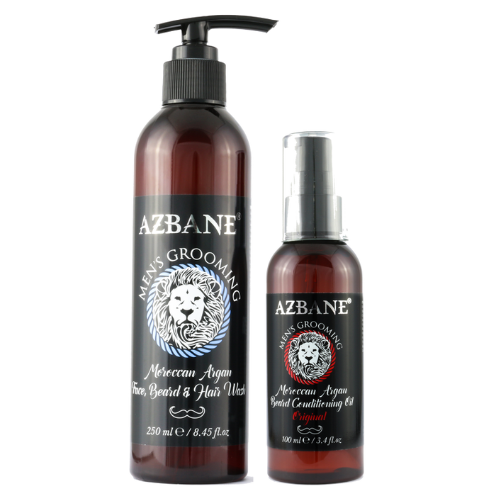 AZBANE ORGANIC ARGAN OIL & BEARD WASH GROOMING KIT