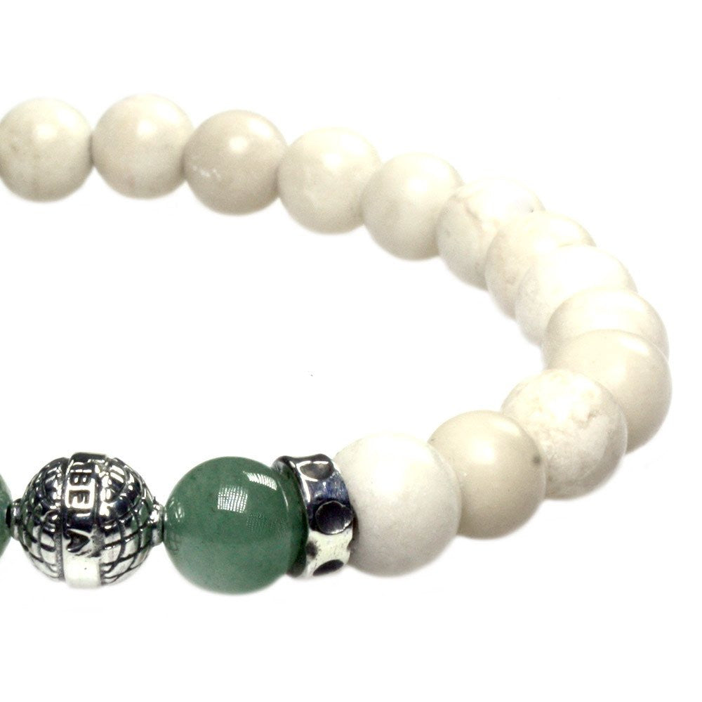 MENS LUXURY BRACELET B8 (mm) - FOSSIL, AVENTURINE & STERLING SILVER