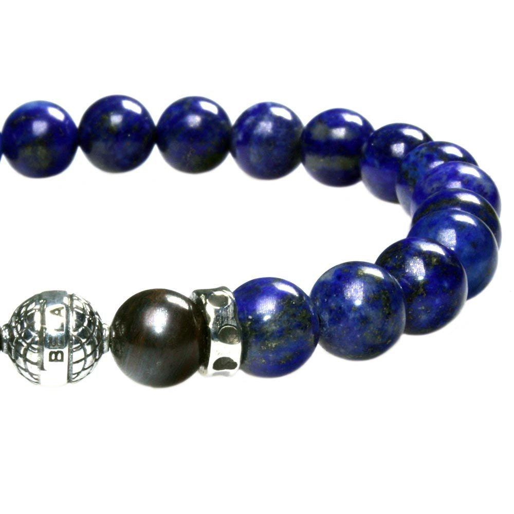 MENS LUXURY BRACELET B8 (mm) - LAPIZ LAZULI, TIGER IRON & STERLING SILVER