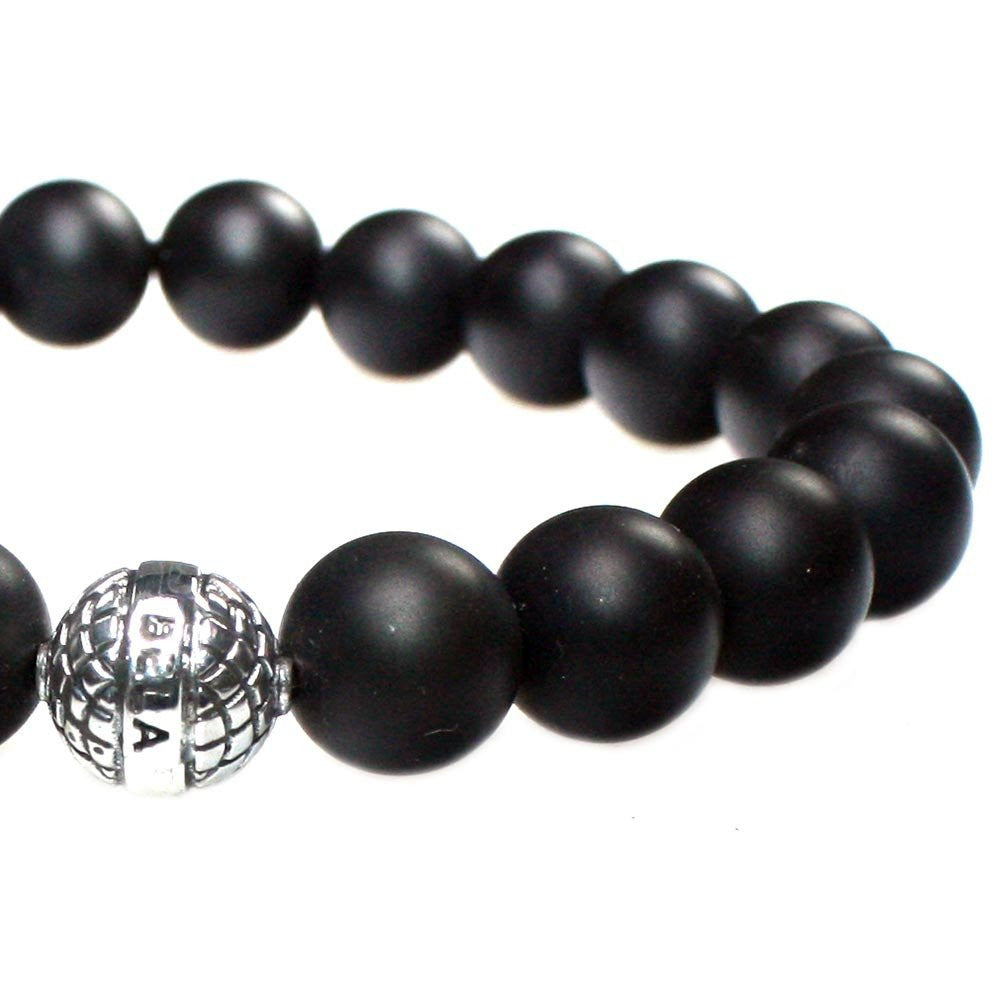 MENS LUXURY BRACELET B10 (mm) - MATTE ONYX &  STERLING SILVER