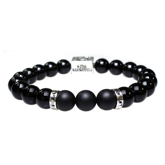 ManCave UAE Men's Luxury Bracelet B10 - Gloss Onyx, Matte Onyx & Sterling Silver