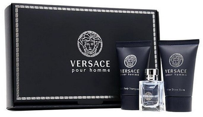 VERSACE POUR HOMME TRAVEL KIT- EAU DE TOILETTE , SHOWER GEL & AFTER SHAVE BALM
