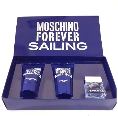 MOSCHINO FOREVER SAILING TRAVEL KIT- EAU DE TOILETTE , SHOWER GEL & AFTER SHAVE BALM