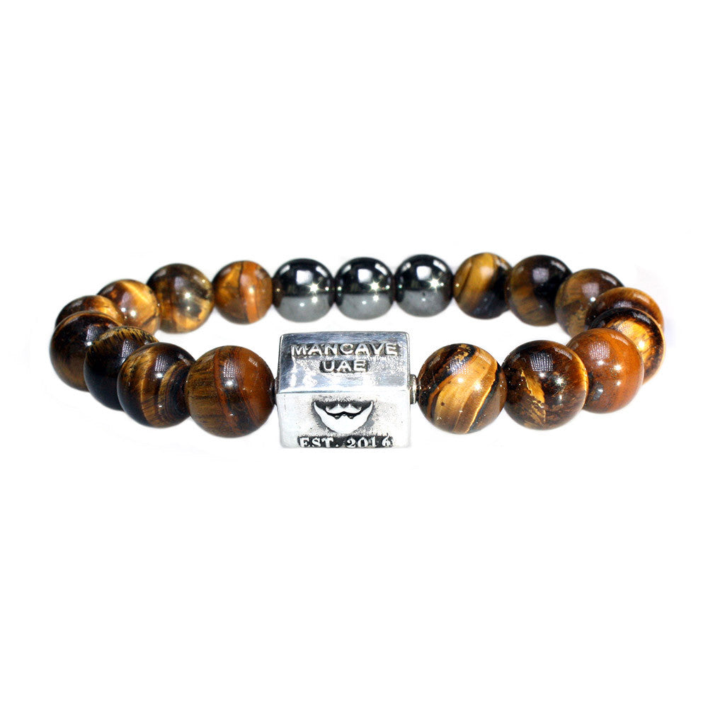 ManCave UAE Men's Luxury Bracelet B10 - Tiger Eye, Hematite & Sterling Silver
