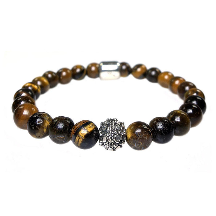 MENS LUXURY BRACELET B8 (mm) - TIGER EYE & STERLING SILVER
