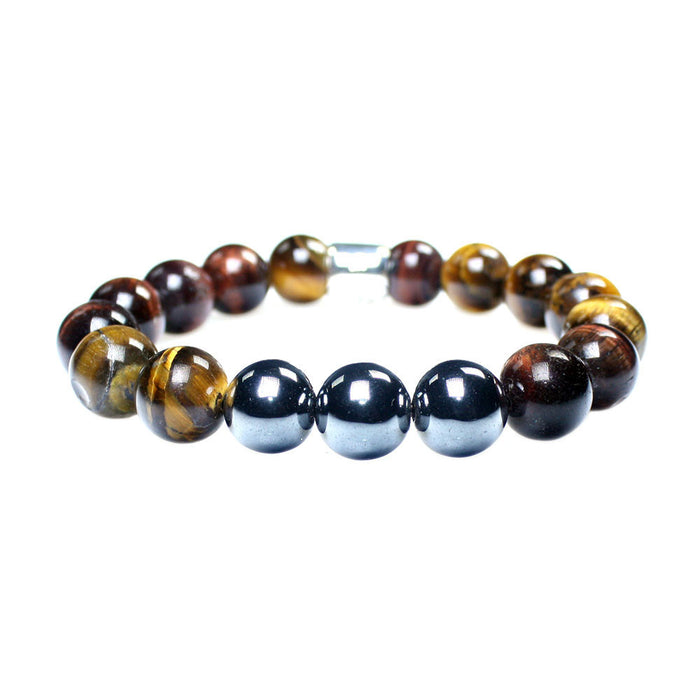 MENS LUXURY BRACELET B12 (mm) - TIGER EYE, HEMATITE & STERLING SILVER