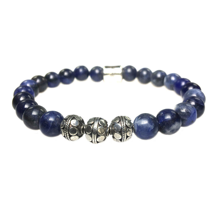 MENS LUXURY BRACELET B8 (mm) - SODALITE AND STERLING SILVER