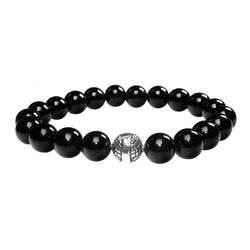 MENS LUXURY BRACELET B10 (mm) - GLOSS ONYX &  STERLING SILVER