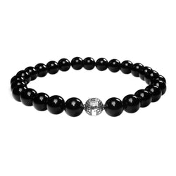 MENS LUXURY BRACELET B8 (mm) - GLOSS ONYX &  STERLING SILVER