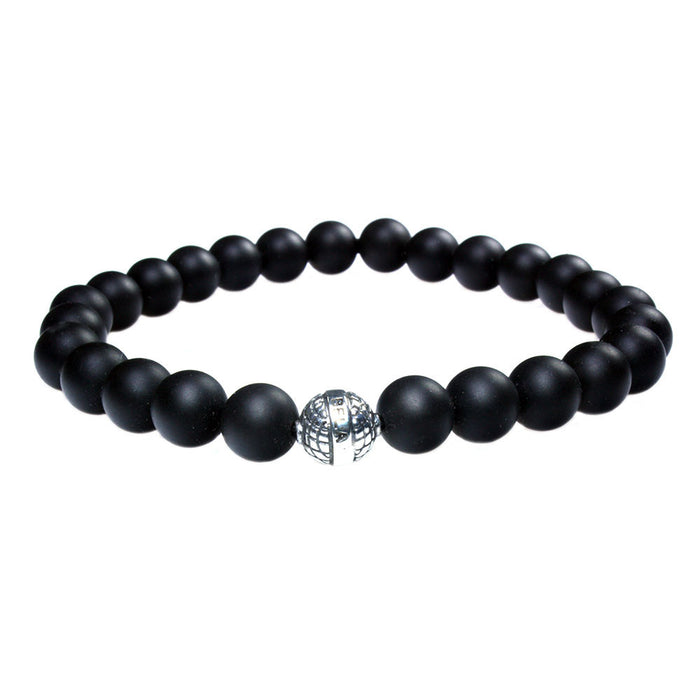 MENS LUXURY BRACELET B8 (mm) - MATTE ONYX &  STERLING SILVER