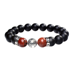 MENS LUXURY BRACELET B10 (mm) - ONYX, REDSTONE & STERLING SILVER