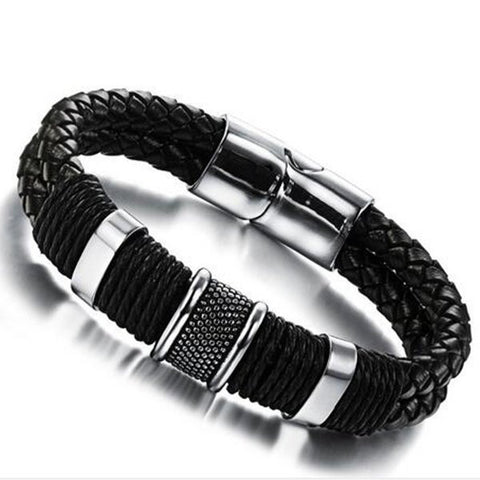 Casual Man Bracelet Handmade Leather Black Weaved Double Layer Bracelet