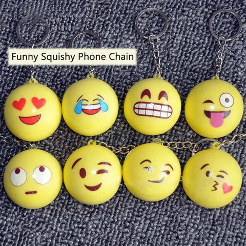 Funny Emoji Face Squishy Toys Stress Reliever Phone Chain Hang Decorations