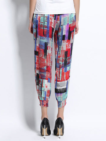 Women Printed Elastic Waist Ankle-Length Bloomers Pant