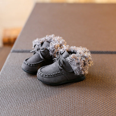 Baby Pure Color Warm Fur Lining Soft Cute Toddler Girl Shoes