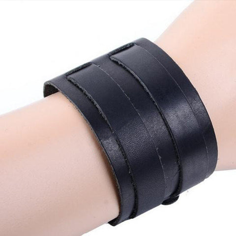 2 Layer Punk Leather Bracelet Wristband Cuff Bangle