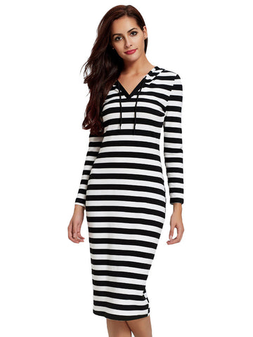 Auleya Hooded Stripe Pattern Sweater Dress