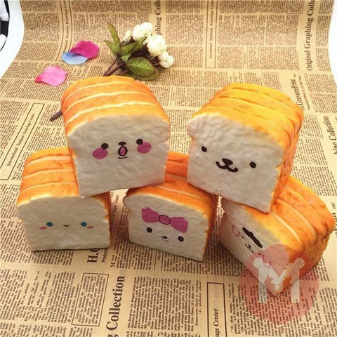 Kawaii Squishy Soft Kawaii Emoji Toast Cute Face Bread Desk Decor