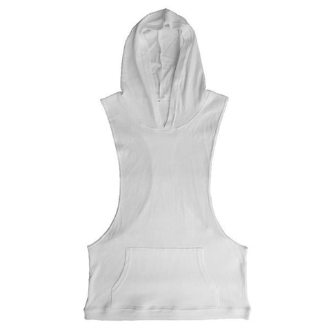 Fashion Bodybuilding Sport Sleeveless Hoodie Tanks Top Casual Solid Color Gym Vest For Men