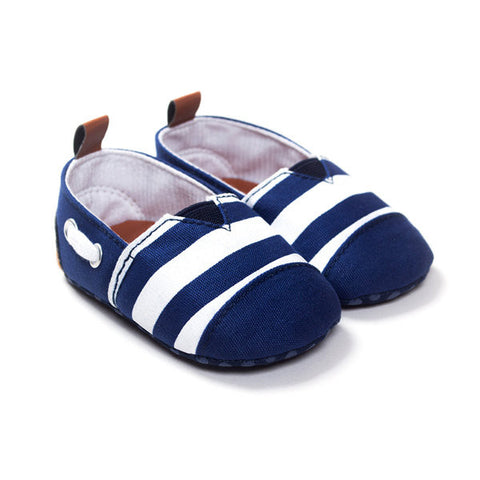 Canvas Stripe Slip On Flat Casual Pre-Walking Shoes For Baby