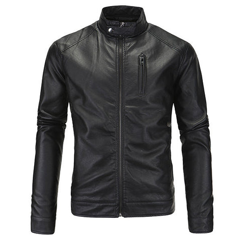 Plus Size Casual Business Motorcycle Washable PU Leather Jacket Stand Collar Coat For Men