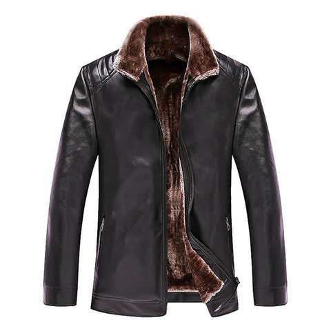 Thicken PU Leather Jacket Warm Fleece Collar Shoulder Stitching Outwear for Men