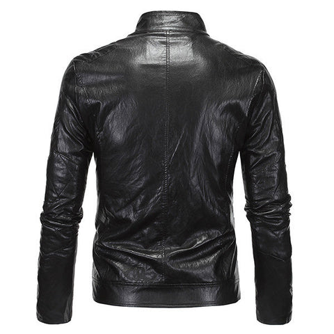 Mens Fashion PU Leather Stand Collar Zipper Fly Motorcycle Punk Style Cool Jacket
