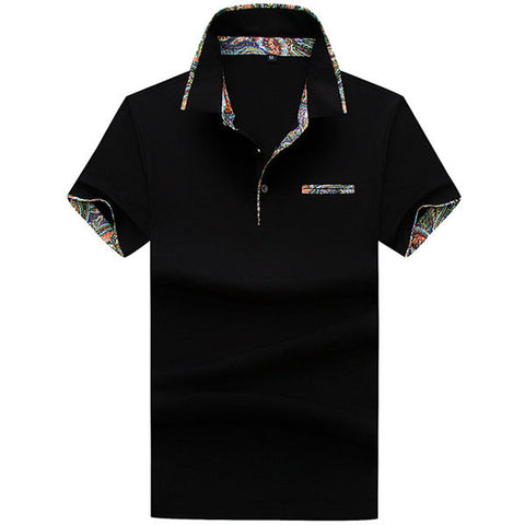 Mens Floral Lined Decoration Cotton Polo Shirts