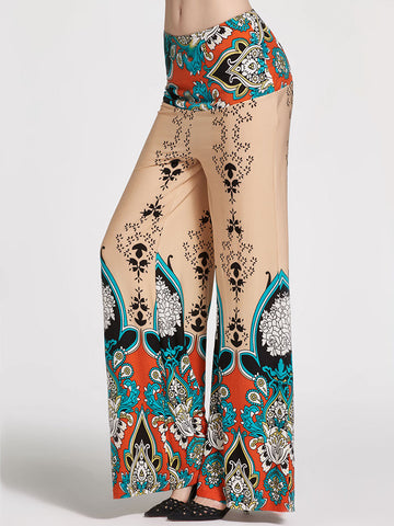 Boho Print Wide Leg High Waist Pants