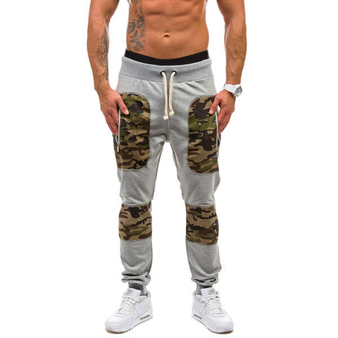 Mens Fashion Sport Pants Elastic Waist Drawstring Splicing Camo Casual Sportwear