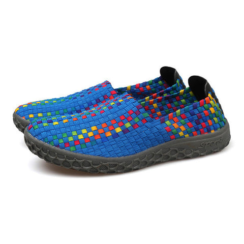 Big Size Knitting Weave Colorful Soft Slip On Flat Athletic Shoes