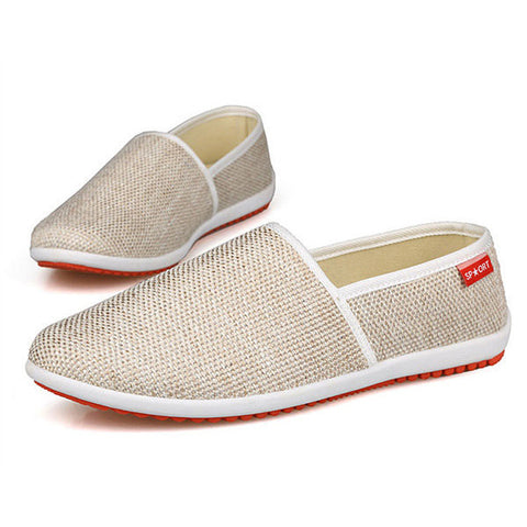 New Men Shoes Lightweight Cotton Blend Slip On Breathable Flats