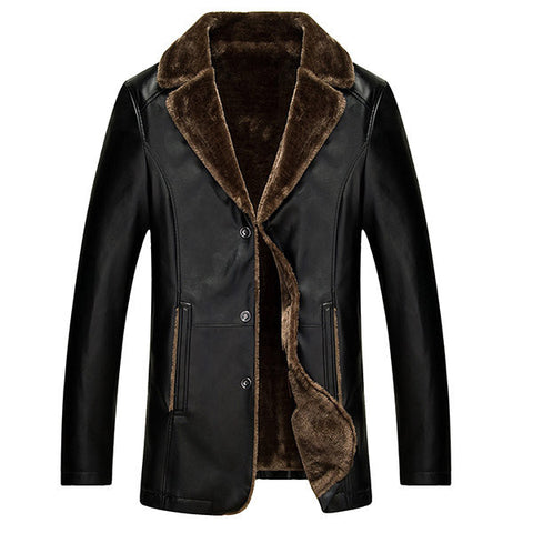 Thicken Warm PU Leather Jacket Fleece Collar Single Breasted Overcoat for Men