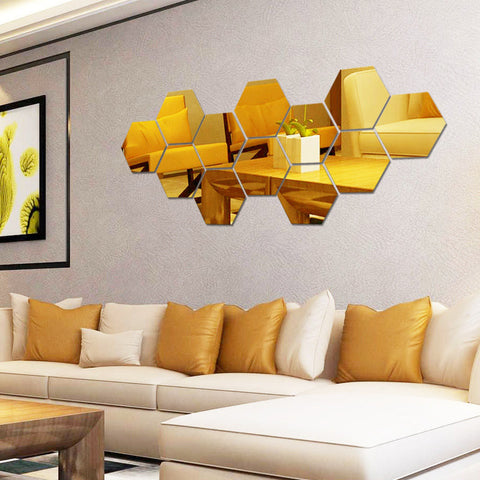 12pcs Hexagon Stereoscopic Mirror Wall Sticker