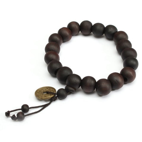 Buddhist Tibetan Prayer Wood Beads Coin Bracelet