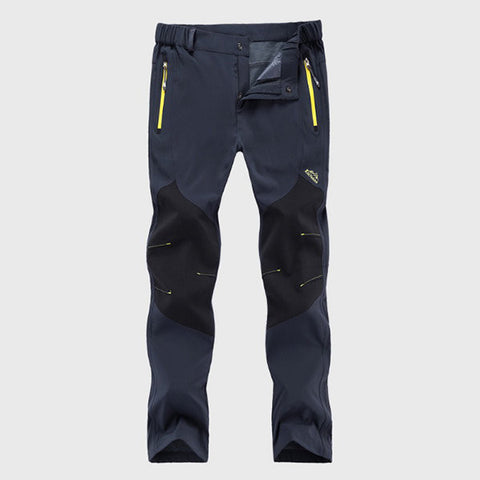 Mens Outdoor Trouser Elastic Waist Soft Shell Water-repellent Warm Fleece Lining Sport Pants