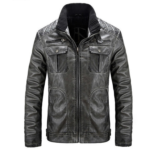 Vintage Motorcycle Style PU Leather Biker Jacket Multi Pockets Stitching Coat for Men