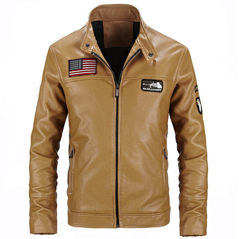Fashion Motorcycle PU Leather Jacket Slim Fit Stand Collar Coat For Men