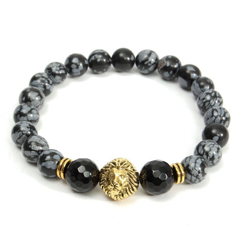 8mm Agate Alabaster Lion Head Bracelet