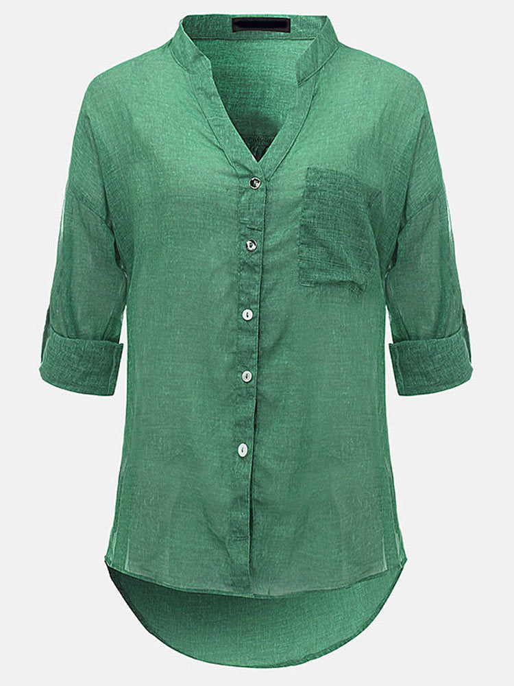 Elna Semi Rounded Casual V Neck Shirt