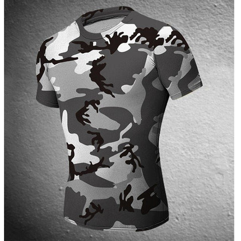 Mens Camouflage Black White Wicking Tees Tight Sports Fitness Training T-shirt