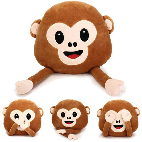 35cm Creative Emoji Monkey With Hands Throw Pillow Plush Stuffed Cushion