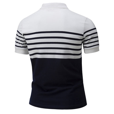 Men Brief Style Striped Printing Polo Shirt