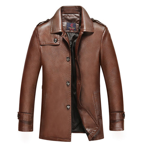 PU Leather Jacket Business Outdoor Casual Solid Color Epaulets Coat for Men