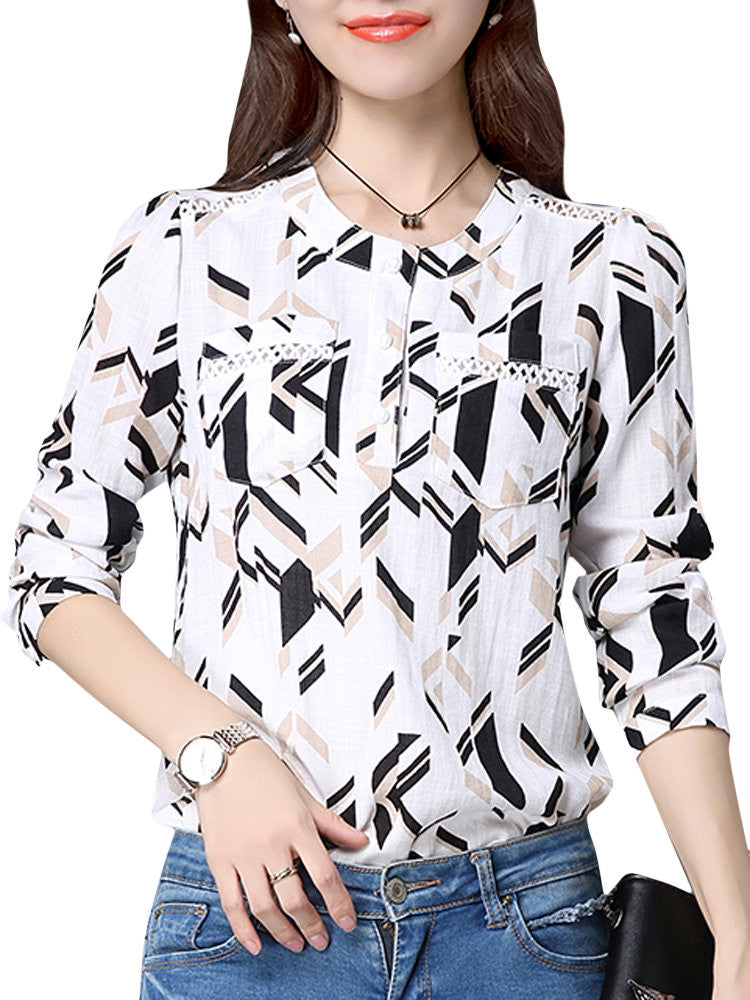 OL Hole Geometry Splicing Elegant Long Sleeve Women Shirt